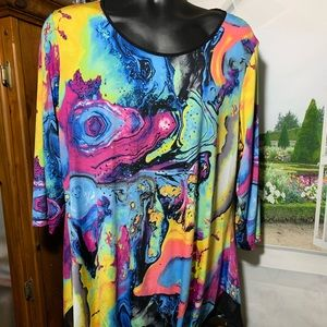 Peter Nygard blouse item # T 1107 red blue
